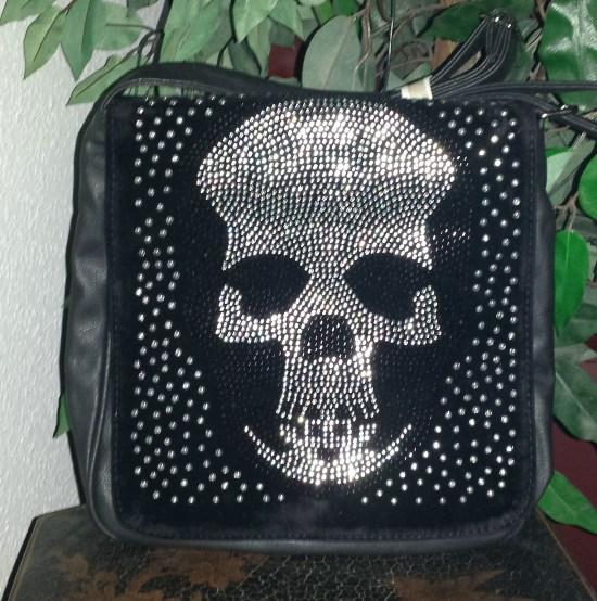 handtasche mit strass totenkopf