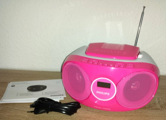 philips cd player in pink